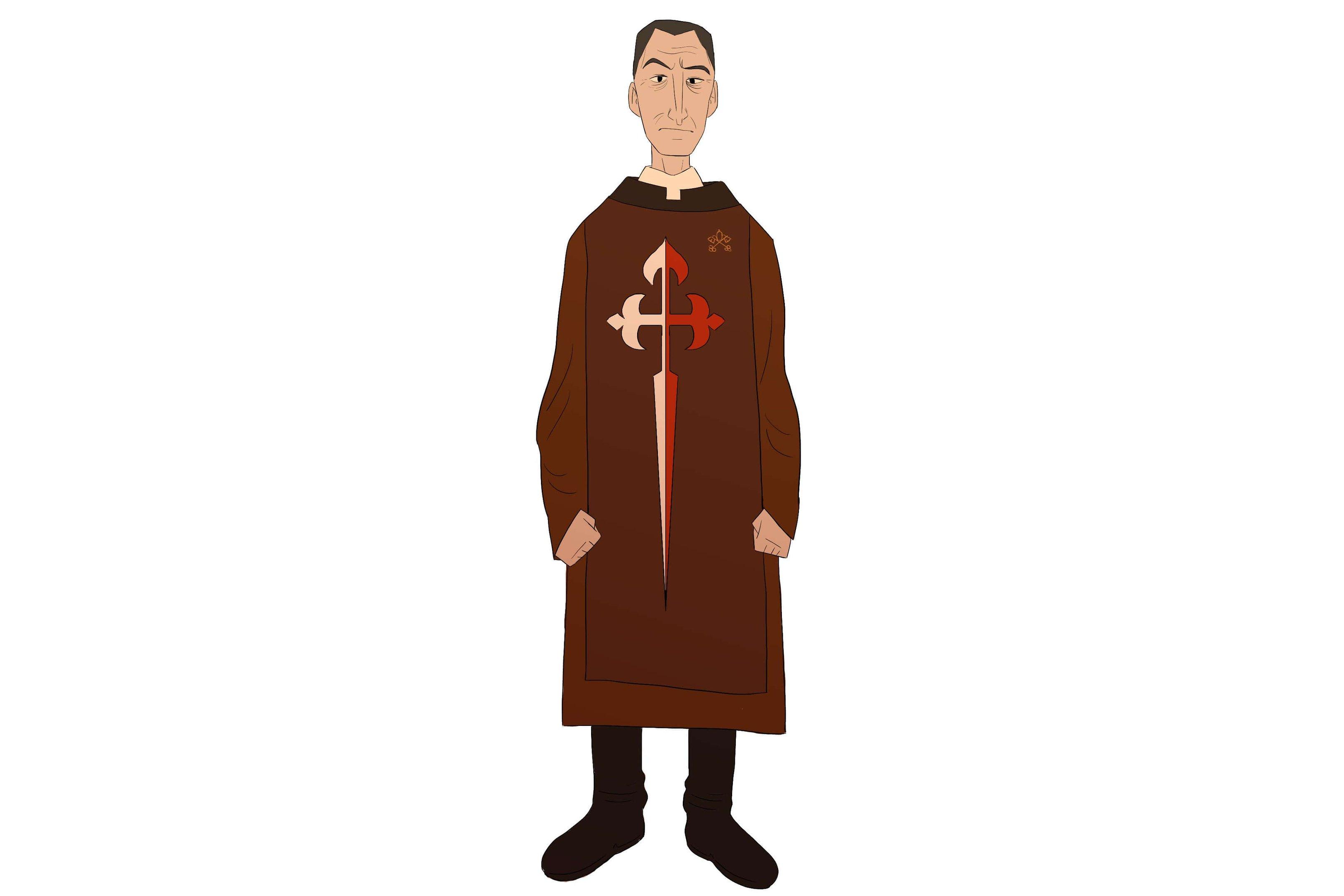 A túnica marrom é reservada aos diáconos e presbíteros. A grande cruz do escapulário, com pontas estilizadas que lembram flores-de-lis, é inspirada em Santiago de Compostela