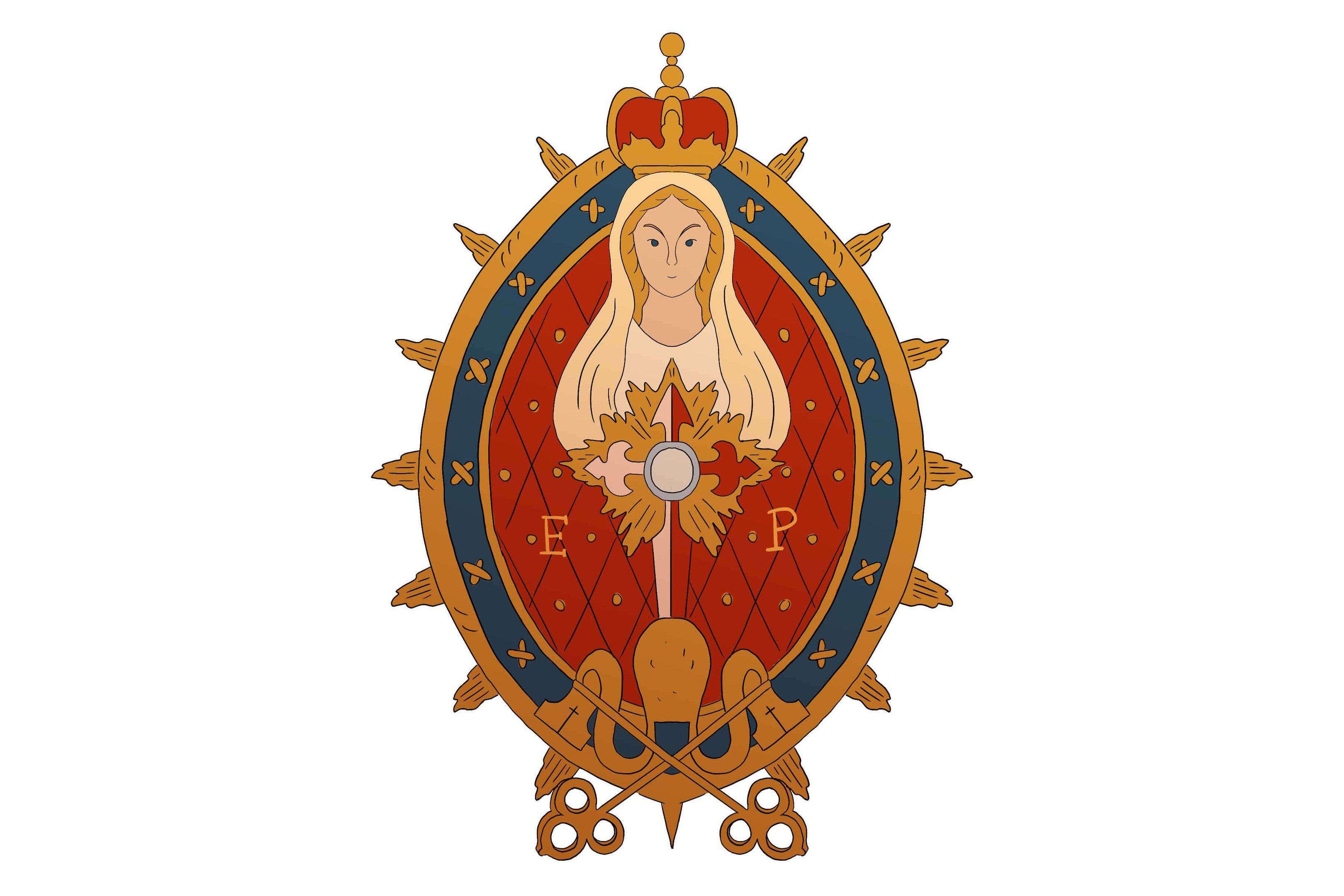 O distintivo de Maria deve ser colocado no peito, ao lado esquerdo do escapulário. A parte superior do medalhão estará à mesma altura da ponta da cruz