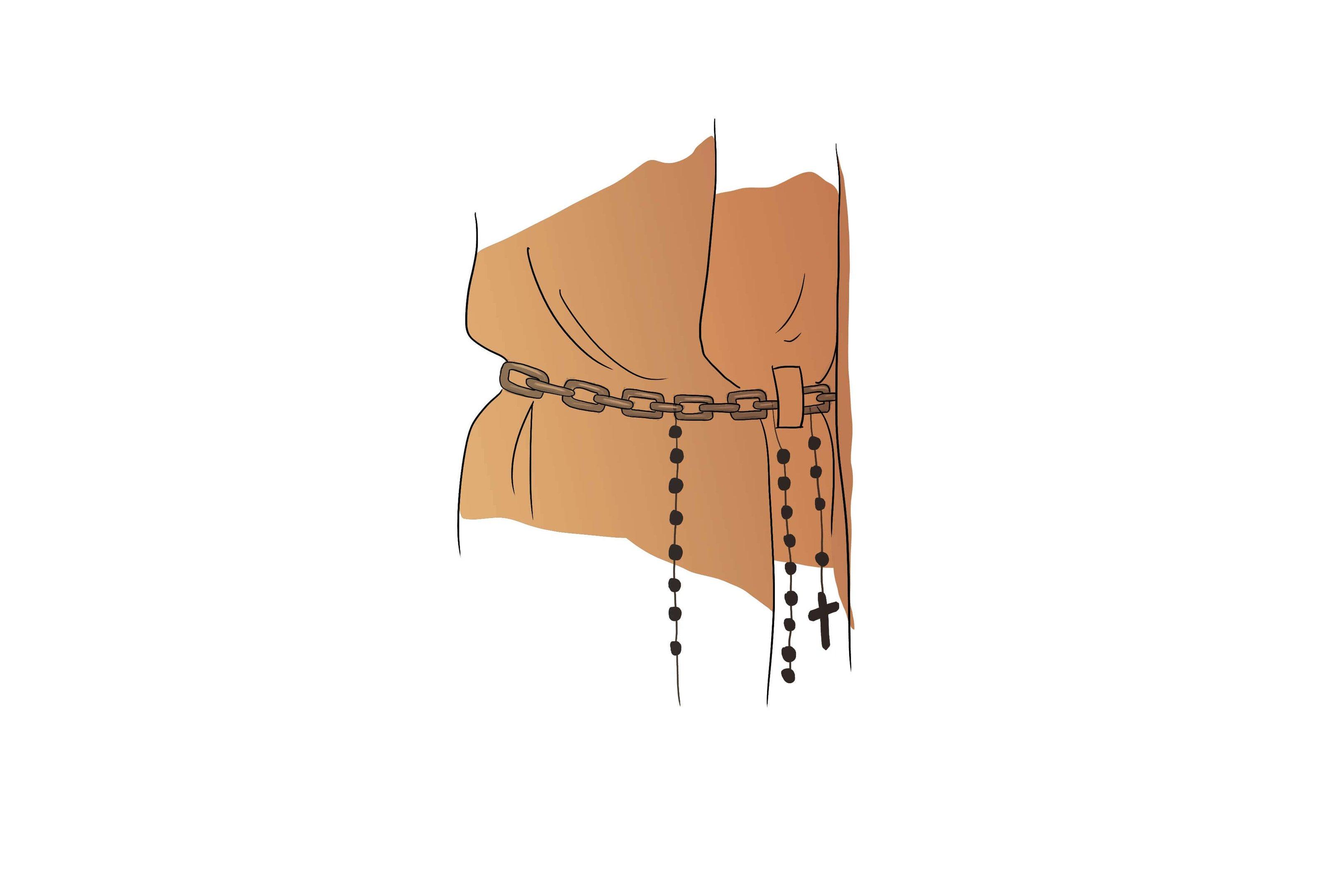 A corrente de aço na cintura simboliza submissão e devoção. O capuz, presente apenas nos hábitos dos clérigos e leigos consagrados, é o símbolo da vida contemplativa