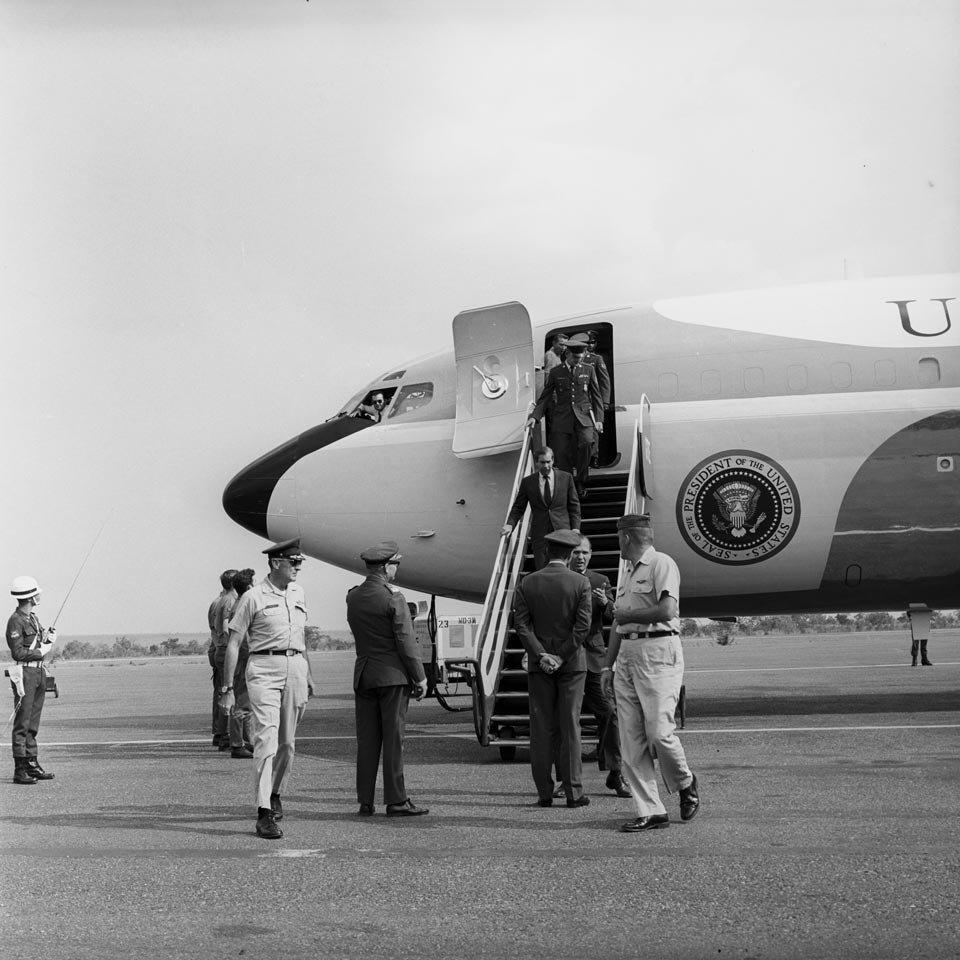 O avião Força Aérea Dois no Aeroporto Militar de Brasília